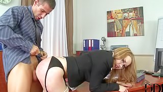 Four-eyed elegant secretary bends over for her boss. She gets her asshole stretches with fingers before he sticks his boner in her anal tunnel from behind. He bangs her mouth and pussy after ass