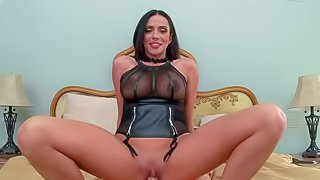 Ariella Ferrera is pissed after she unwanted guest Johnny Sins arrives at a party. She teaches him a lesson in the privacy of her bedroom. Leggy dark haired woman with smooth pussy rides his face and then takes his cock!