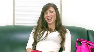 This casting video features Vanessa Sixxx. Shes a new babe with pretty face and long brown hair. She loves making her beautiful eyes on camera. She gets interviewed before stripping