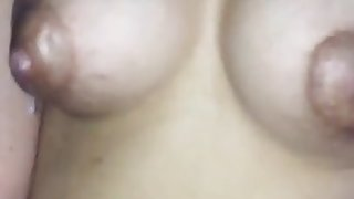 Horny 23yr old lactating wife leaking milk riding husband