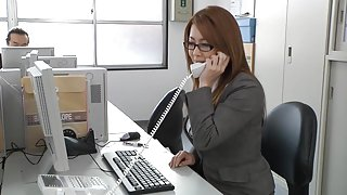 Japanese beautiful milf in the office