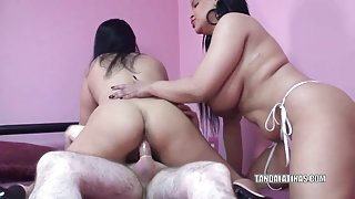 Valentina Lopez and Angel Lynn are sharing a cock