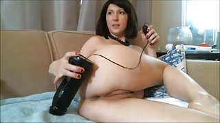 Webcam Brunette cums hard with 2 huge dildos