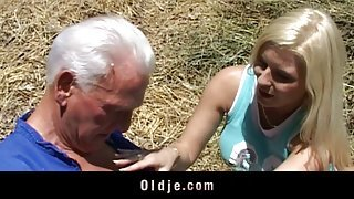 Busty blonde teen fucks and old hoary farmer