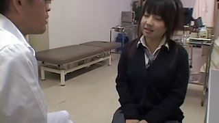 Pigtailed Japanese teen gets a perverted pussy exam