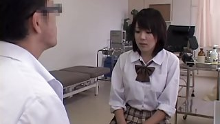 Pussy fingering for cute Japanese during her Gyno exam
