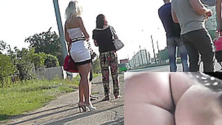 Naughty blonde girl caught for the hot upskirt XXX