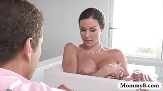 Stepson ###ed on her huge boobs stepmom in the bathtub