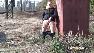 Urination by the railroad tracks with a cutie
